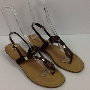 East 5th Sandals Size 10 Brown Gold Detailing